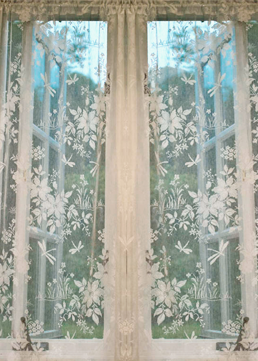 Dragonfly Nottingham Lace Curtain U0026 Yardage
