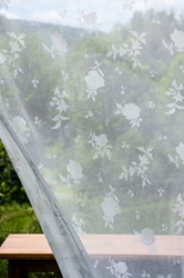 English Shabby Rose Madras Lace Curtain and Yardage