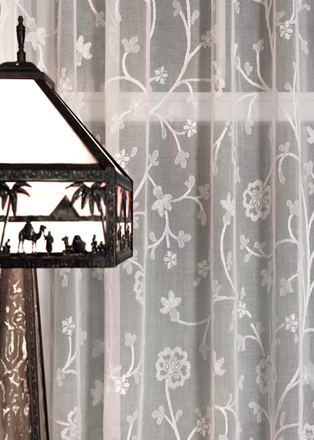 Cotton lace curtains - Thistle Madras Lace Curtain And Yardage