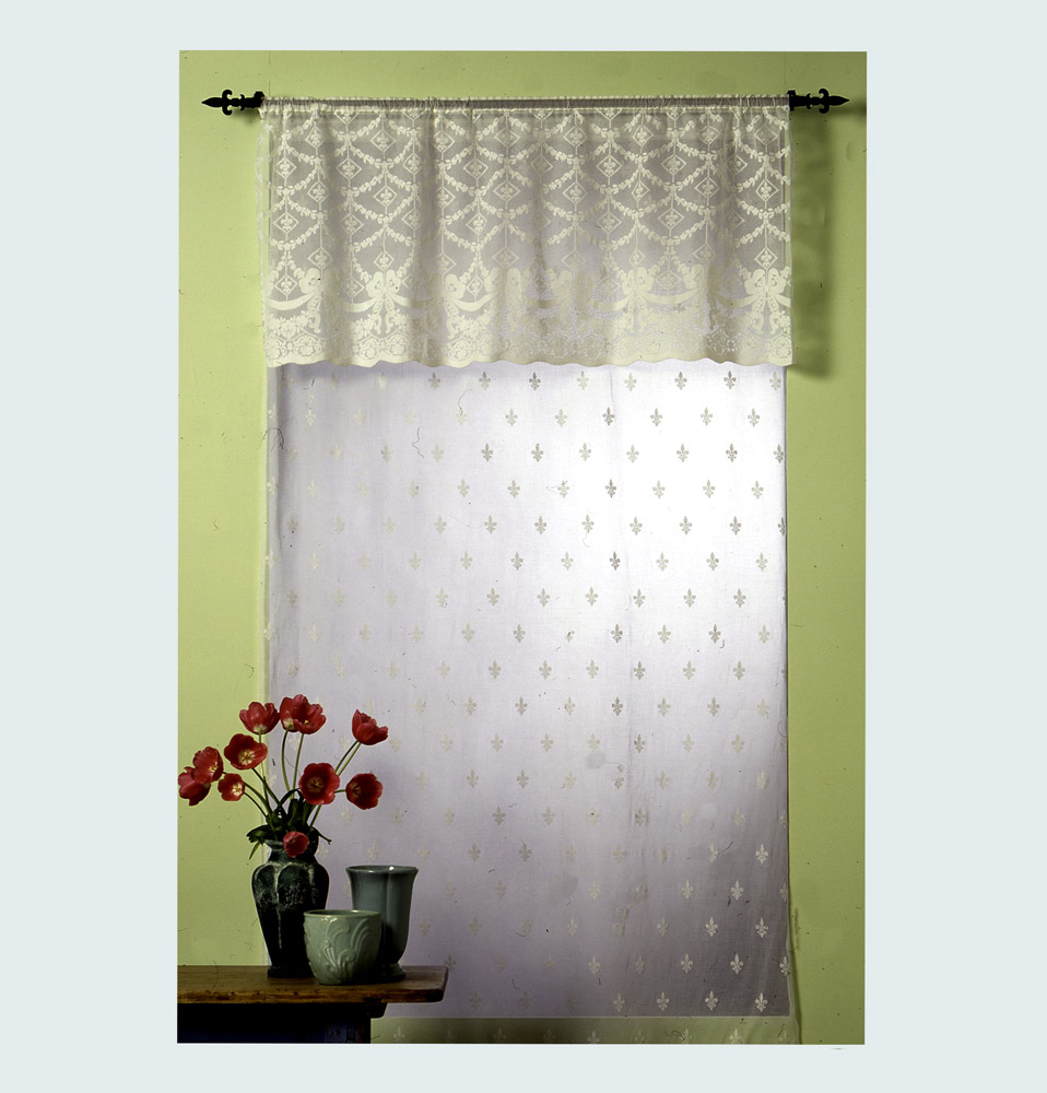 Fleur De Lys Vertical Madras Lace Curtain & Yardage  46r5a5by